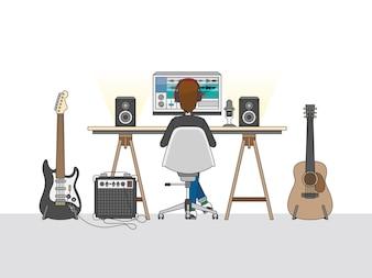 Obszar roboczy inżyniera dźwięku lub producenta muzycznego