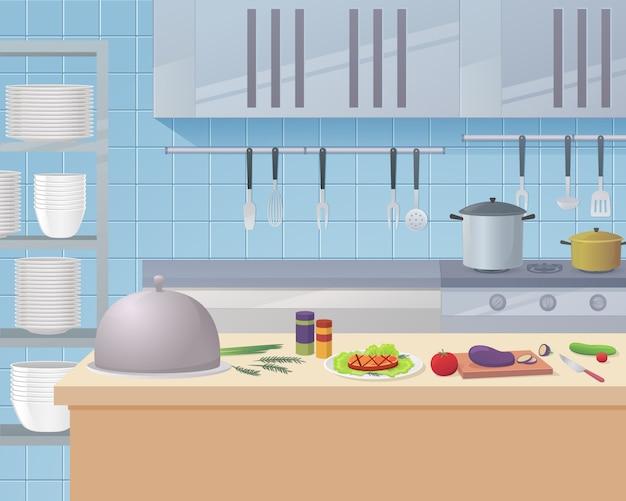 Obszar roboczy kuchni kreskówki kuchni restauracji