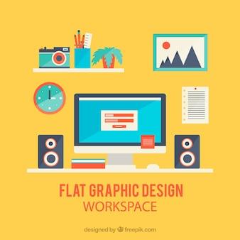 Obszar roboczy projektowania graficznego w stylu płaski