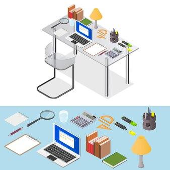 Obszar roboczy. przezroczyste biurko z papeterią i laptopem do pracy. miejsce pracy w domu. element wnętrza gabinetu. miejsce freelancera. ilustracja wektorowa.