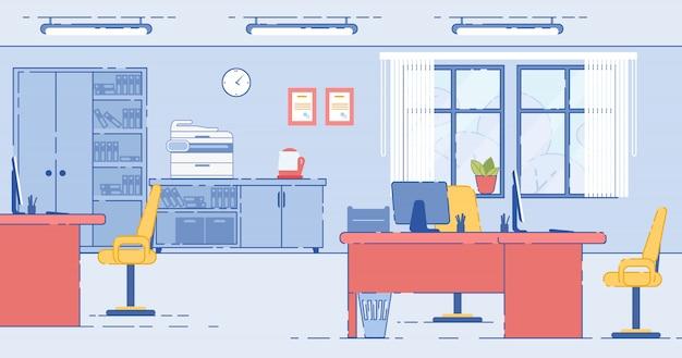 Obszar roboczy w biurowych drewnianych stołach z monitorami
