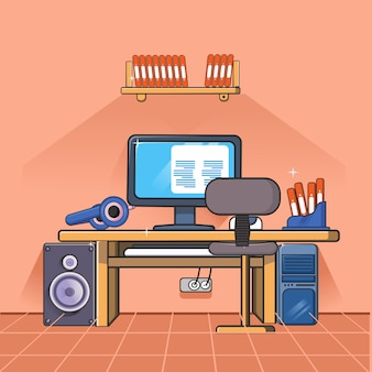 Obszar roboczy z elementami biurowymi