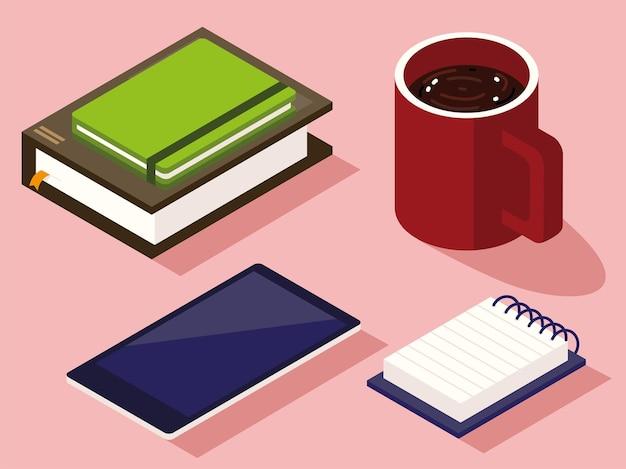 Obszar roboczy ze smartfonem, notatnikiem i filiżanką. styl izometryczny