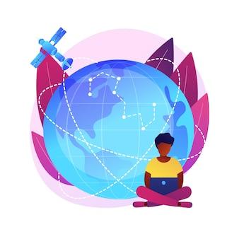 Obszar zasięgu gps. obserwacja ziemi. idea komunikacji kosmicznej, nawigacja satelitarna na orbicie, nowoczesne technologie. przestrzeń kosmiczna, kosmos, wszechświat. ilustracja koncepcja na białym tle