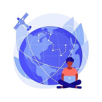 Obszar zasięgu gps. obserwacja ziemi. idea komunikacji kosmicznej, nawigacja satelitarna na orbicie, nowoczesne technologie. przestrzeń kosmiczna, kosmos, wszechświat. ilustracja wektorowa na białym tle koncepcja metafora