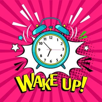 Obudź się zegar. kreskówka budzik zabawna ilustracja, budzik wybuchu budzika