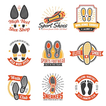 Obuwie etykiety z zestaw ikon footprints