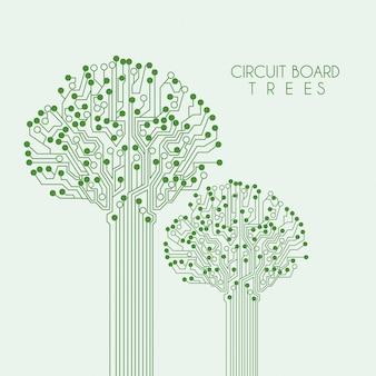 Obwód drzewa na zielonym tle ilustracji wektorowych