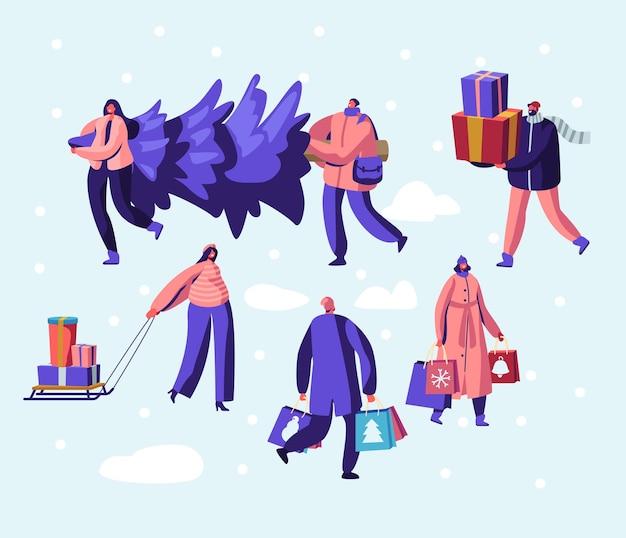 Obywatel szczęśliwych ludzi noszących ciepłe ubrania przygotować się na ferie zimowe niosąc choinkę, płaska ilustracja kreskówka