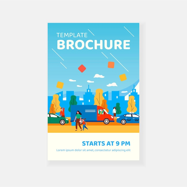 Obywatele chodzą po ulicy w godzinach szczytu szablon broszury