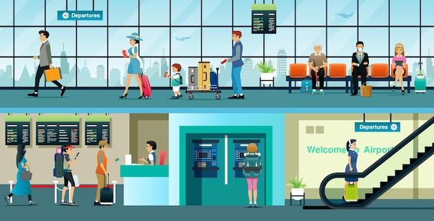 Obywatele kupują bilety lotnicze, aby podróżować na lotnisku