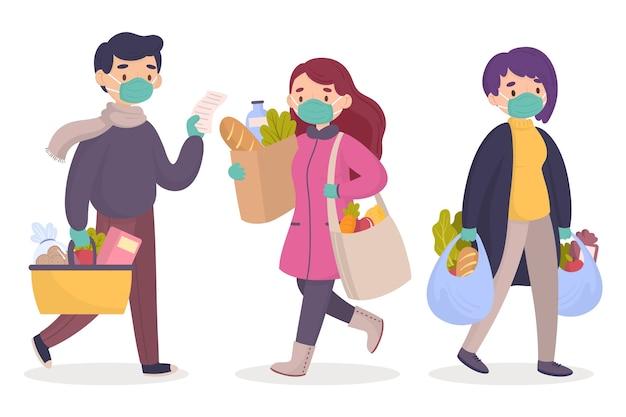 Obywatele robi zakupy artykuły spożywcze ilustracyjnych