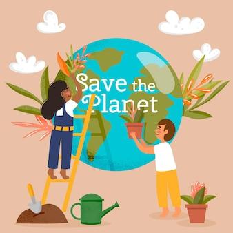 Ocal koncepcję planety z ludźmi i ziemią