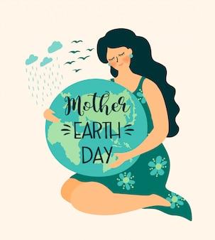 Ocal naturę. ilustracja dzień matki ziemi