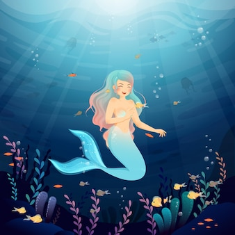 Ocean ilustracja wspaniałej syrenki
