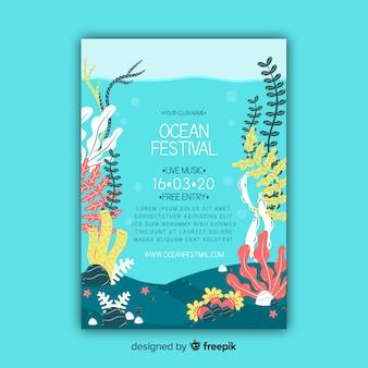 Ocean plakat festiwal muzyczny szablon