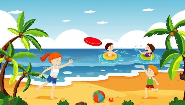 Ocean scena z ludźmi, zabawy na plaży