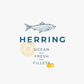 Ocean świeże filety streszczenie wektor znak, symbol lub szablon logo.