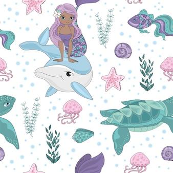 Ocean tale mermaid girl seamless pattern