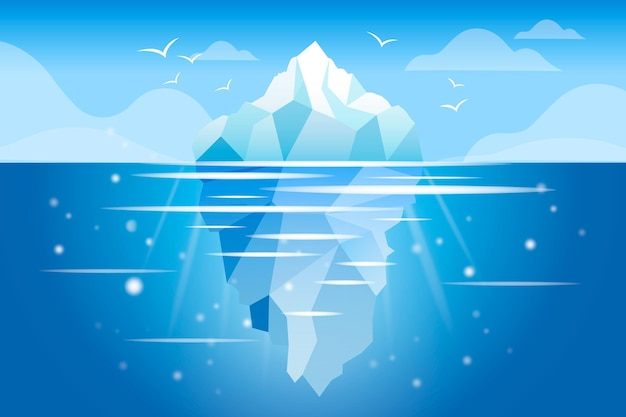 Ocean z koncepcją ilustracji góry lodowej