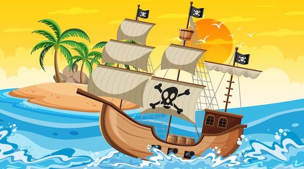 Ocean ze statkiem pirackim w scenie czasu zachodu słońca w stylu kreskówki