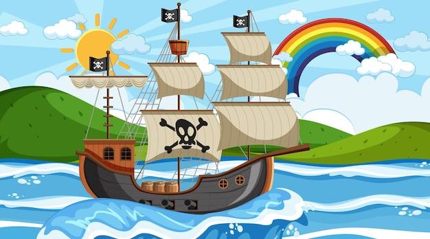 Ocean ze statkiem pirackim w scenie dziennej w stylu kreskówki