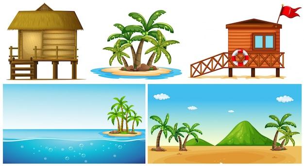 Oceanu sceny z wyspy i dom ratownik