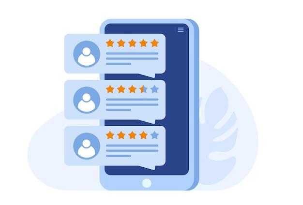 Ocena aplikacji. opinie klientów i użytkowników 5 gwiazdek. system rankingowy strony, pozytywne opinie, ocena głosów. płaska ilustracja wektorowa