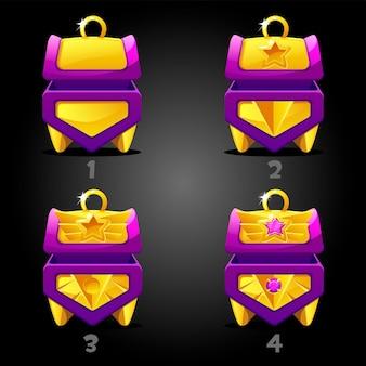 Ocena fioletowych skrzyń skarbów w grze.
