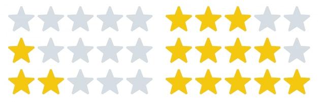 Ocena gwiazd ikony. liczba gwiazdek, oceny opinii i ocena stawek. zestaw pięciu gwiazdek