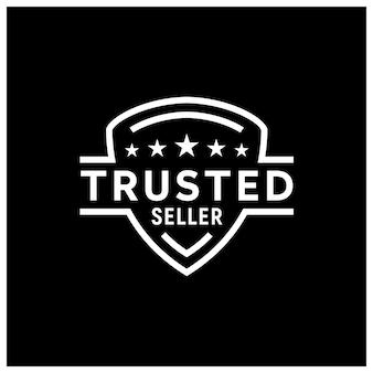 Ocena gwiazdek z tarczą za minimalistyczną ikonę pieczęci zaufanego sprzedawcy logo design
