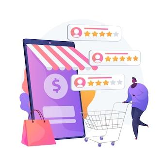 Ocena i opinie użytkowników. ikony www kreskówka recenzje klientów. handel elektroniczny, zakupy online, zakupy w internecie. zaufaj metrykom, najwyżej ocenianemu produktowi. ilustracja wektorowa na białym tle koncepcja metafora