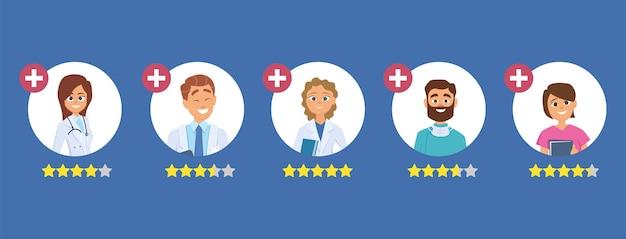 Ocena lekarzy. koncepcja pięciu gwiazdek. szukaj dobrego lekarza. ilustracja recenzje personelu medycznego. ocena lekarza, opinia lekarza