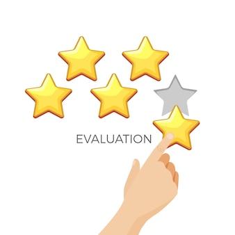 Ocena na plakacie promocyjnym złotej błyszczącej gwiazdy z ludzką ręką. ocena od jednego do pięciu punktów. mężczyzna wystawia ocenę za otrzymane usługi.