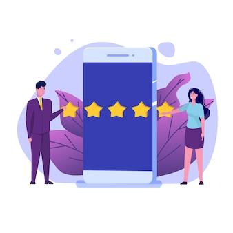 Ocena online klientów, koncepcja recenzji. ocena użyteczności.