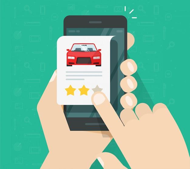 Ocena samochodu w recenzji online na telefonie komórkowym lub opinia o autorze