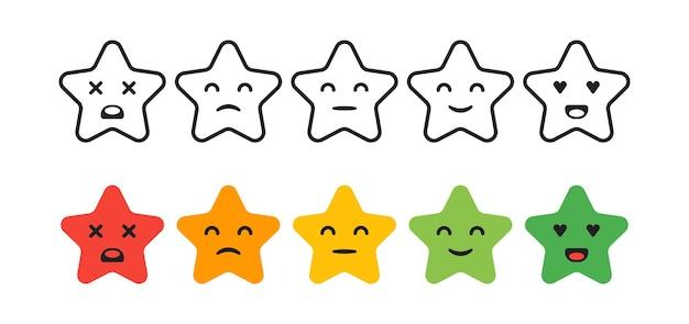 Ocena satysfakcji. zestaw ikon gwiazda sprzężenia zwrotnego w postaci emocji. doskonale, dobrze, normalnie, źle, okropnie. ilustracja