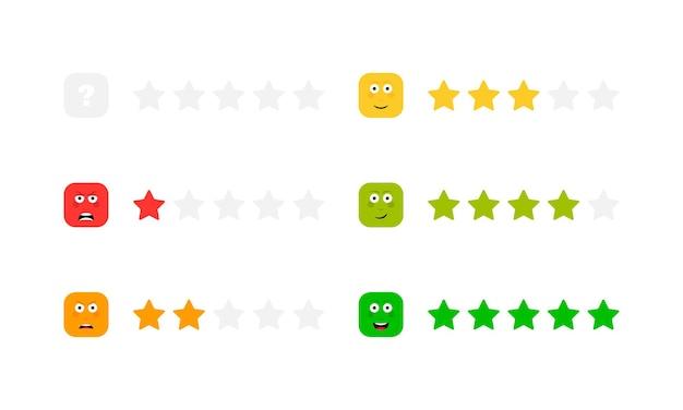 Ocena w gwiazdkach z różnymi emocjami na twarzy. skala opinii. zły, smutny, neutralny, zadowolony i szczęśliwy zestaw emotikonów.