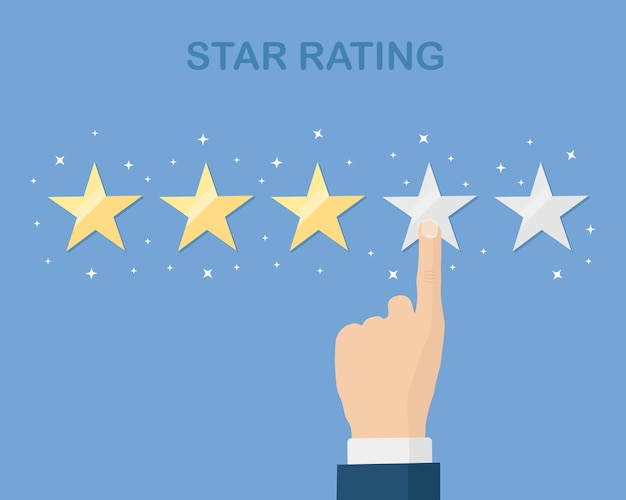 Ocena w skali gwiazdkowej. opinie klientów, recenzje klientów. ankieta dotycząca usług marketingowych
