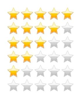 Ocena wektora 5 gwiazdek na białym tle