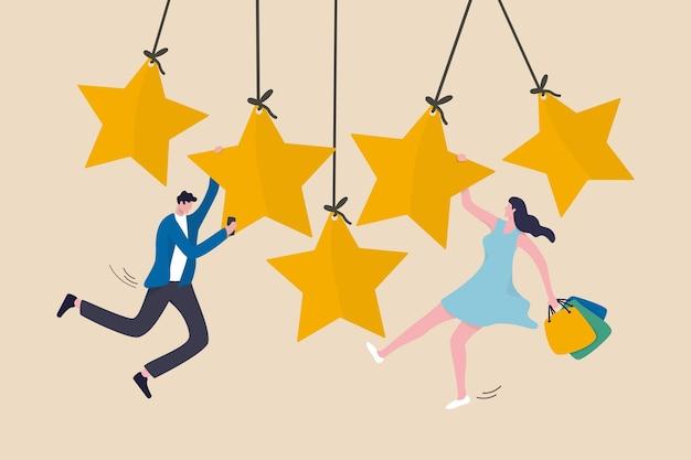 Ocena wrażeń klientów, opinie użytkowników lub ocena w gwiazdkach dotycząca koncepcji produktu i usługi, szczęśliwa młoda dama trzymająca torbę na zakupy zawieszona na złotych pięciu gwiazdkach z mężczyzną za pomocą smartfona
