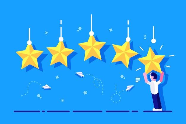 Ocena z charakterem. ocena w skali gwiazdkowej. biznesmen trzyma w rękach złotą gwiazdę, aby dać pięć. koncepcja informacji zwrotnej. system oceny. pozytywna recenzja. jakość pracy. informacja zwrotna dla strony internetowej, baner.
