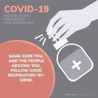 Ochrona covid-19 mierzy komunikat informujący o koronawirusie