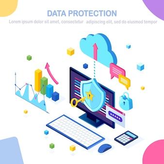 Ochrona danych. bezpieczeństwo w internecie, dostęp do prywatności za pomocą hasła. 3d izometryczny komputer pc z kluczem, zamkiem. projekt banera
