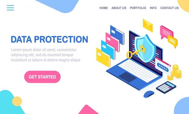 Ochrona danych. bezpieczeństwo w internecie, dostęp do prywatności za pomocą hasła. 3d izometryczny komputer z kluczem, zamkiem, tarczą, teczką, bańką wiadomości. projekt banera