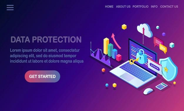 Ochrona danych. bezpieczeństwo w internecie, dostęp do prywatności za pomocą hasła. izometryczny komputer pc 3d z kluczem, zamkiem, tarczą, laptopem, wykresem, wykresem. projekt banera