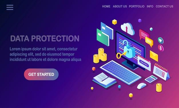 Ochrona danych. bezpieczeństwo w internecie, dostęp do prywatności za pomocą hasła. izometryczny komputer pc z kluczem, otwarty zamek, folder, chmura, dokumenty, laptop, pieniądze.