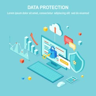 Ochrona danych. bezpieczeństwo w internecie, dostęp do prywatności za pomocą hasła. izometryczny komputer pc z kluczem, zamkiem, tarczą. na baner