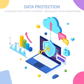 Ochrona danych. bezpieczeństwo w internecie, dostęp do prywatności za pomocą hasła. izometryczny komputer pc z kluczem, zamkiem, tarczą, wykresem, wykresem.