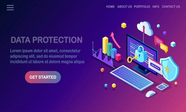 Ochrona danych. bezpieczeństwo w internecie, dostęp do prywatności za pomocą hasła. izometryczny komputer pc z kluczem, zamkiem, tarczą.